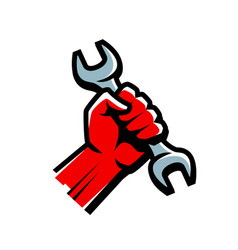 hand with wrench work service technical support vector image
