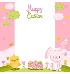 Happy Easter background with cartoon cute bunny vector