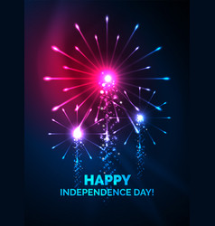 Happy independence day 4 july fireworks design vector