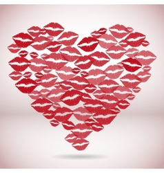 Heart shape made with print kisses vector image