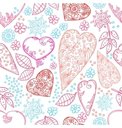 hearts and flowers seamless texture vector image