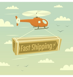 Helicopter and fast shipping vector