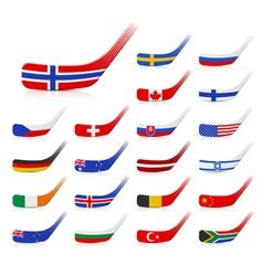 Ice hockey sticks with flags vector