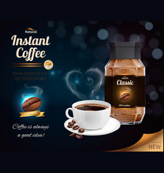 Instant coffee realistic composition vector