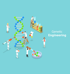 isometric flat concept of genetic vector image