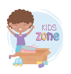 Kids zone cute little boy with car and box with vector