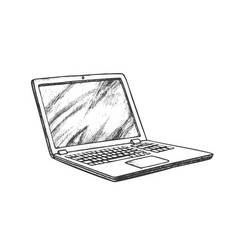 laptop computer electronic gadget retro vector image