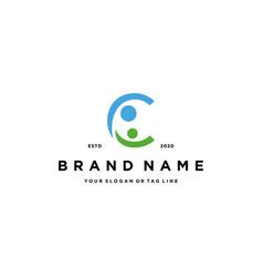 Letter c people design logo concept vector