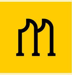 M letter old russian font national folk alphabet vector