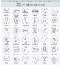medical outline icon set Elegant thin line vector image
