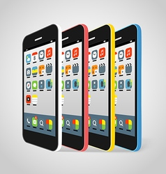 Modern smartphone different colors vector image