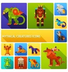 Mythical creatures icons set vector