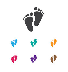 Of baby symbol on foot step vector
