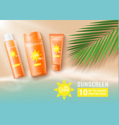 orange sunscreen bottles on tropical beach - ad vector image