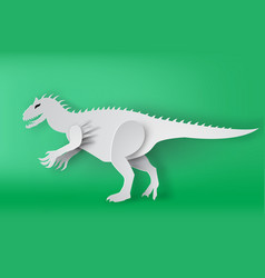 paper art of indominous rex dinosour on green vector image