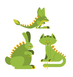 Prehistoric rabbit dinosaur dino cat raptor vector