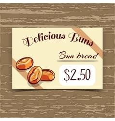 Price Tag Design Bun Bread vector