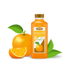 realistic detailed 3d orange juice isolated on a vector image