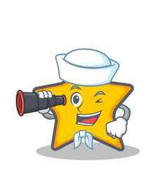 sailor star character cartoon style with binocular vector image