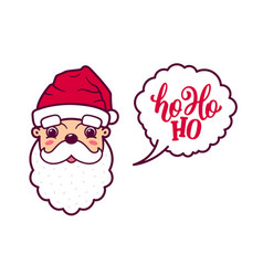 Santa claus cute face says ho ho ho vector