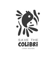 Save the colibri logo design protection of wild vector