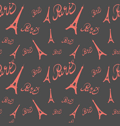 seamless pattern eiffel tower with heartshand vector image