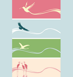 set banners with silhouettes various birds vector image