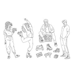 set fashion people and items 80s-90s sketch vector image