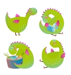 Set fun cartoon dragons vector