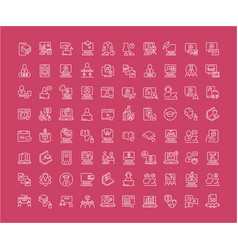 Set line icons freelancer and online vector