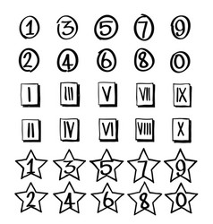 set numbers in hand drawn vector image