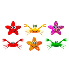 set of crabs and starfish vector image