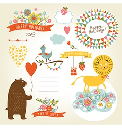 Set of holiday graphic elements and cute animals vector