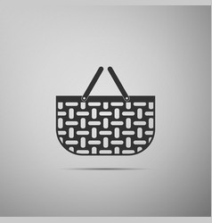 Shopping basket flat icon on grey background vector