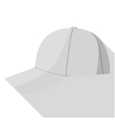 Side view of grey baseball cap icon flat style vector