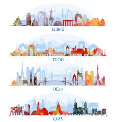 skyline silhouette set beijing tokyo new delhi vector image