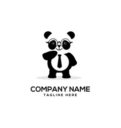 smart panda logo vector image