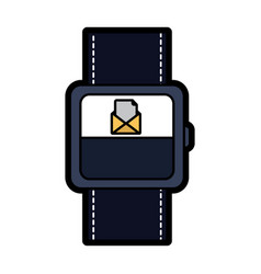 Smart watch with incoming message mail icon vector