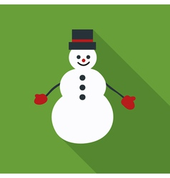 Snowman flat icon on green background vector