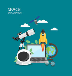 Space exploration flat style design vector