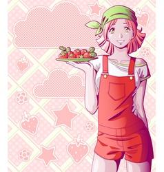 strawberry girl vector image