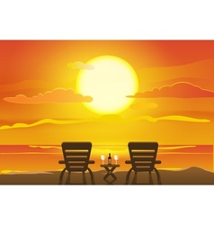 Sunset view in beach vector