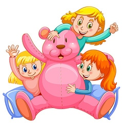 Three girls hugging pink teddy bear vector
