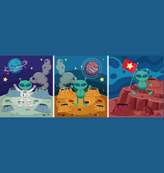 Three space scenes with alien on the strange vector