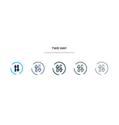 Two way icon in different style two colored and vector