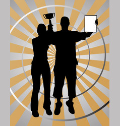 two young winners on gold silver background vector image