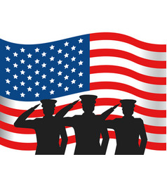 united state flag with military officer silhouette vector image