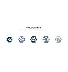 Uv ray warning icon in different style two vector