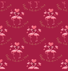 valentines day seamless pattern with cute rabbits vector image