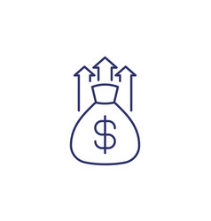 wealth growth line icon on white vector image